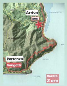 Mappa del percorso Sentiero del Pellegrino, escursione da Varigotti a Noli